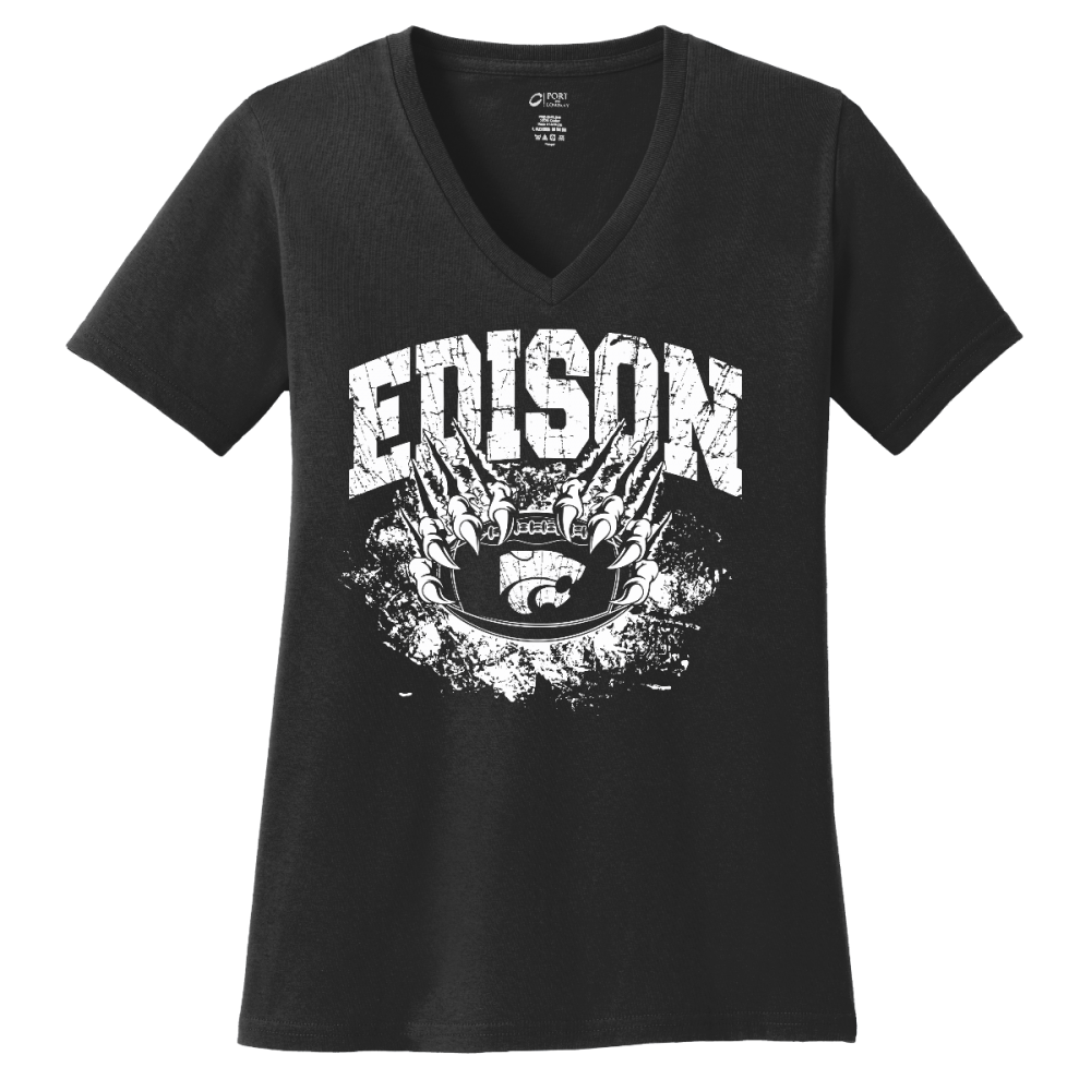 Edison Wildcats Football Design 1 V-Neck Shirt